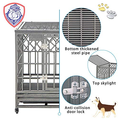 SMONTER Heavy Duty Dog Cage for Large Dog Strong Metal Kennel and Crate Pet Playpen with Three Doors, Four Wheels,38 Inch,Y Shape,Silver … … …