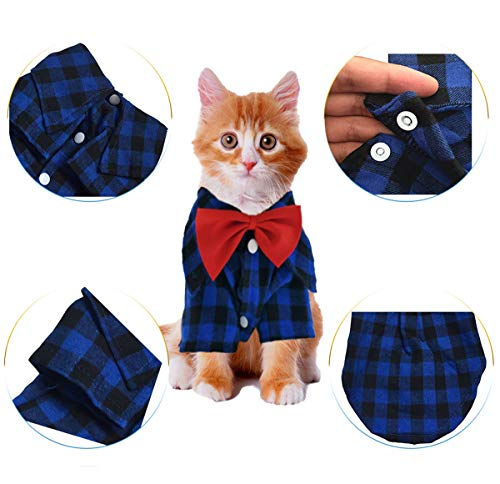 HOODDEAL Soft Casual Dog Plaid Shirt Blue and Black Gentle Dog Western Shirt Dog Clothes Dog Cotton Shirt + Dog Wedding Tie,Blue (Medium)