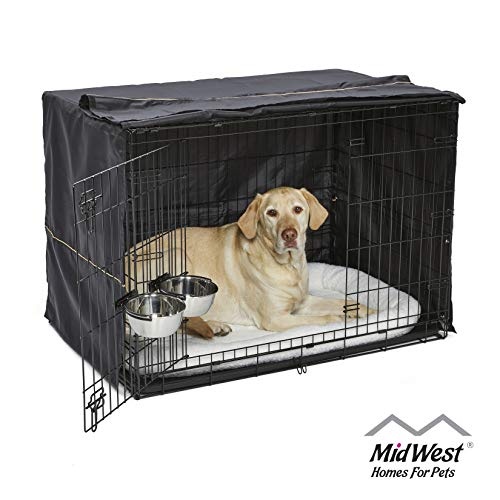 iCrate Dog Crate Starter Kit, 42-Inch Dog Crate Kit Ideal for LARGE DOG BREEDS Weighing 71 – 90 Pounds, Includes Dog Crate, Pet Bed, 2 Dog Bowls & Dog Crate Cover, 1-YEAR MIDWEST QUALITY GUARANTEE