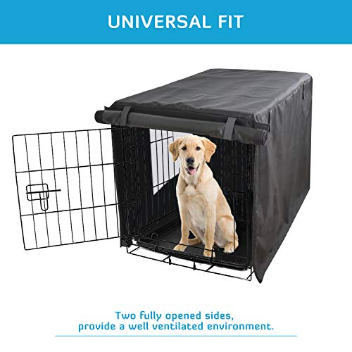 HONEST OUTFITTERS Dog Crate Cover 42 Inch Dog Kennel Cover for Large Dog, Heavy Duty Oxford Fabric,with Double Door, Pockets and Mesh Window (43L x 29W x 30H,Black)