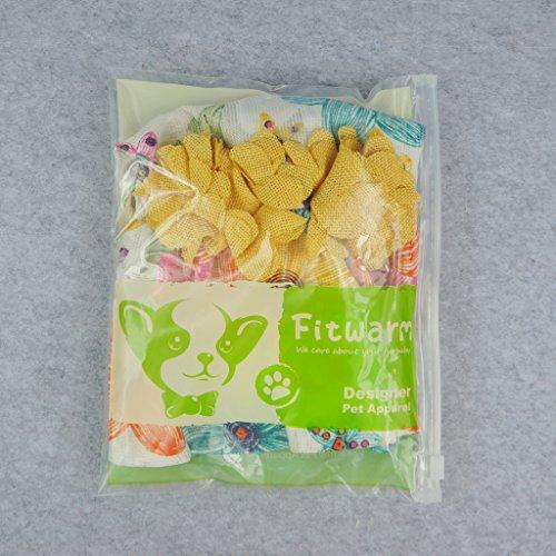 Fitwarm Floral Dog Harness Dress Pet Clothes D-Ring Vest Shirts Sundress Chihuahua Pomeranian Yellow Medium