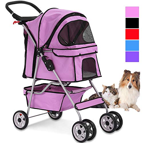 4 Wheels Pet Stroller Cat Dog Cage Stroller Travel Folding Carrier with Cup Holders and Removable Liner for Small-Medium Dog, Cat (Pink)