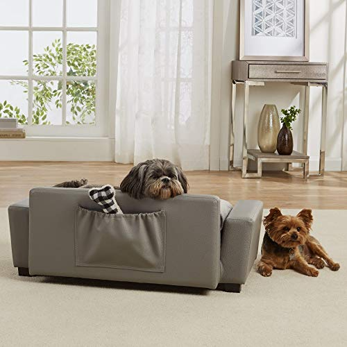 Enchanted Home Pet Scout Pet Sofa Lounger with Bolster Pillows, Grey