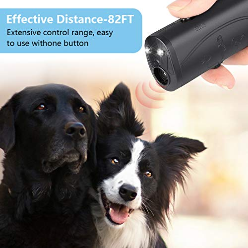 LEKETI Anti Barking Device,Ultrasonic Handheld Dog Repellent and Training Tools with LED Flashlight,Indoor/Outdoor Stop Bark Device Safe for Small Medium Large Dogs (Black)