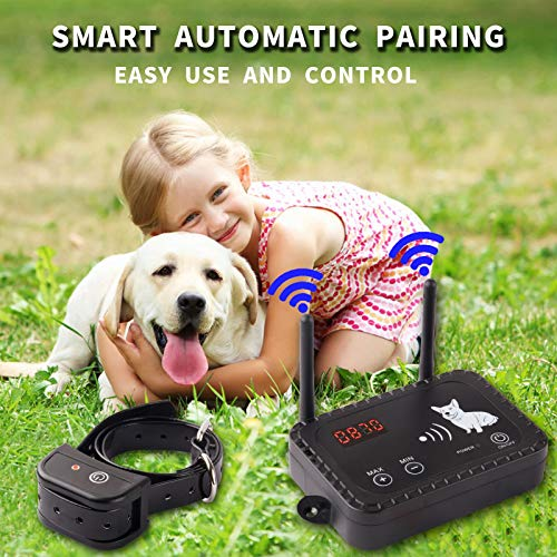 Wireless Dog Fence Electric Pet Containment System, Safe and Easy to Install Vibrate/Shock Dog Fence, Adjustable Control Range 900 Feet, Rechargeable Waterproof Collar (2 Collar Kit + 14 Flags)