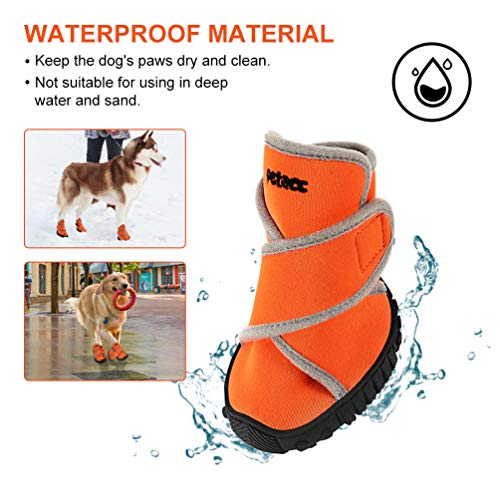 Petacc Dog Boots Waterproof Dog Shoes for Large Dogs Pet Boots Outdoor Shoes with Adjustable Reflective Velcro Rugged Anti-Slip Sole, 4Pcs (L, Orange)