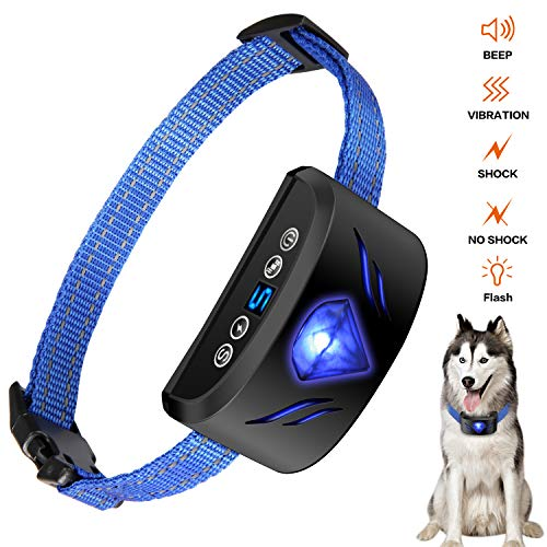 Dog Bark Collar – Electric Dog Shock Collar Anti Bark Collar with 7 Sensitivity USB Rechargeable Waterproof with Beep/Vibration, Shock for Small Medium, Large Dogs