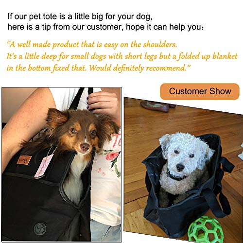 bellerata Dog Purse Carrier with Pockets, Portable Small Dog Soft-Sided Carriers with Adjustable Safety Tether, Versatile Pet Carrier Tote for Subway, Shopping