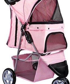 Paws & Pals Dog Stroller – Pet Strollers for Small Medium Dogs & Cats – 3 Wheeler Elite Jogger – Carriages Best for Cat & Large Puppy – Rose Wine