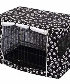 Dog Crate Cover for Wire Crates, Heavy Nylon Durable Waterproof Windproof Pet Kennel Cover Indoor Outdoor Protection – Cover only – Black – Medium