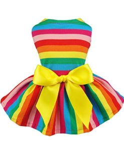 Fitwarm Rainbow Pet Clothes Dog Dresses Vest Shirts Sundress Medium