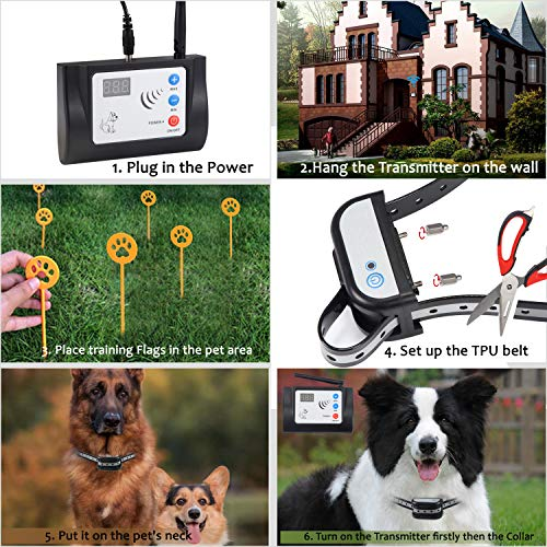 Blingbling Petsfun Electric Wireless Dog Fence System, Pet Containment System with Waterproof and Rechargeable Training Collar Receiver for 1 Dogs Pets Container Boundary (with 20 Flags)