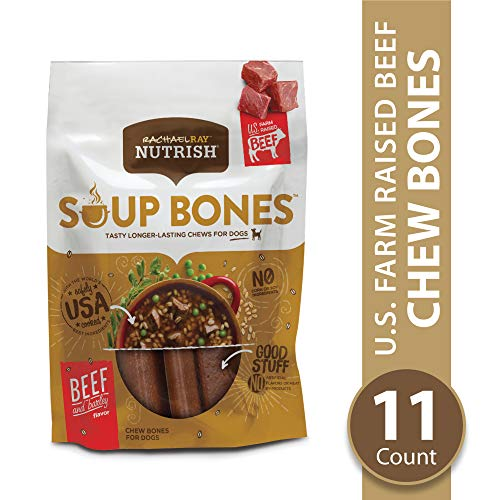 Rachael Ray Nutrish Soup Bones Longer Lasting Dog Treats, Beef & Barley Flavor, 11 Bones