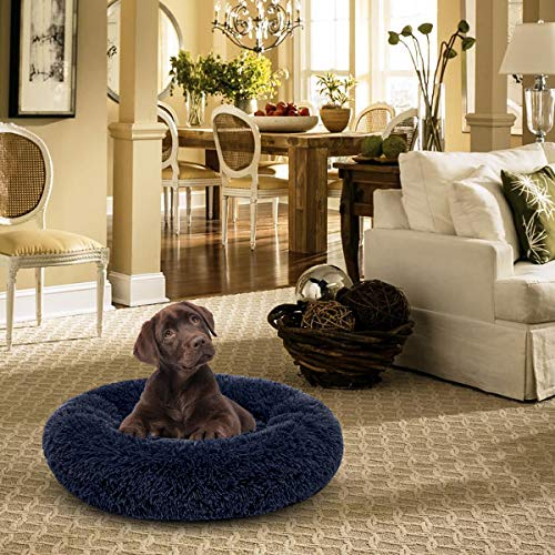 AIPERRO Pet Bed for Small Dogs and Cats Donut Cuddler Fur Round Dog Bed Plush Fluffy Indoor Cat Bed, Anti Slip Bottom, 20/23/30 Inch for Puppy and Kitties (30 inch, Dark Blue)