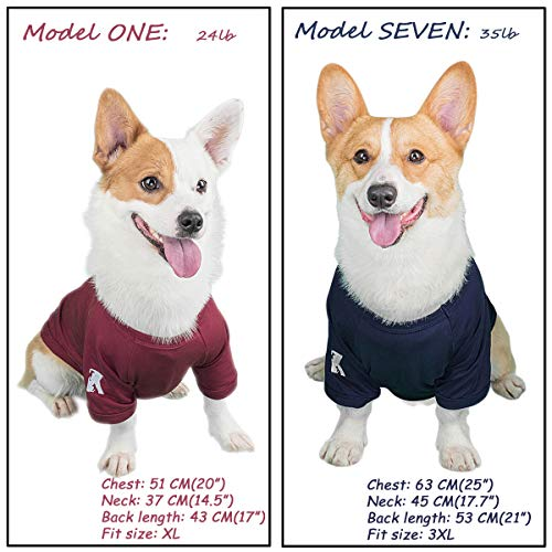 Koneseve Dog Shirts Blank T-Shirt Cotton Pet Clothes Soft, Breathable Hoodie Sweater Bottoming Shirt for Small Dogs Cats Puppy, Adorable Cozy Apparel Casual Fashion Costume Blue & Red 2 Packs XL