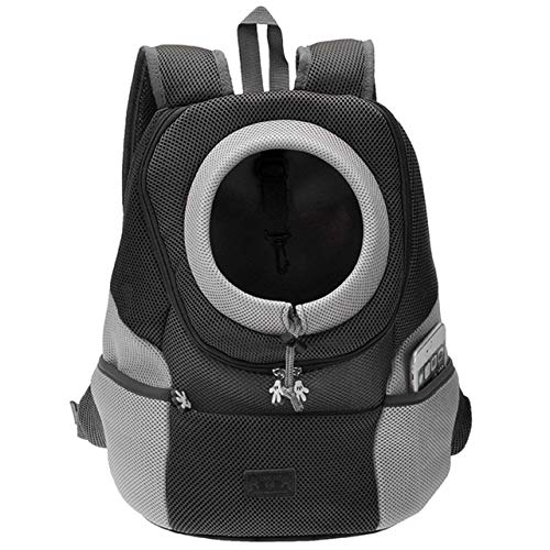 Mogoko Cat Dog Backpack Carrier, Puppy Pet Front Pack with Breathable Head Out Design and Double Mesh Padded Shoulder for Outdoor Travel Hiking (M, Black)