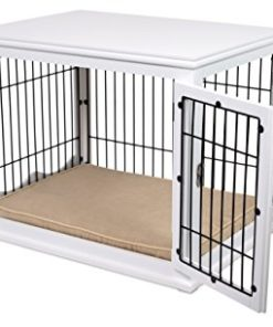Internet's Best Decorative Dog Kennel with Pet Bed – Small Dog – Double Door – Wooden Wire Dog House – Large Indoor Pet Crate Side Table – White