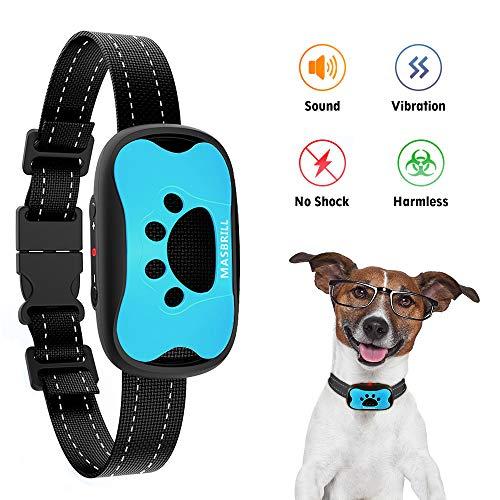 MASBRILL Dog Bark Collars – Effective Anti Barking No Shock Pet Dog Training Collar Stop Barking Deterrent Device Humane Vibration Beep No Barks Collar for Small, Medium Large Dogs 15-110lbs