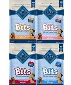 Blue Pack of 4 Buffalo Treats Bits Dog Treats Pouches, 4 Flavors (Savory Salmon, Tasty Chicken, Tender Beef and Tempting Turkey), 4 oz., Blue