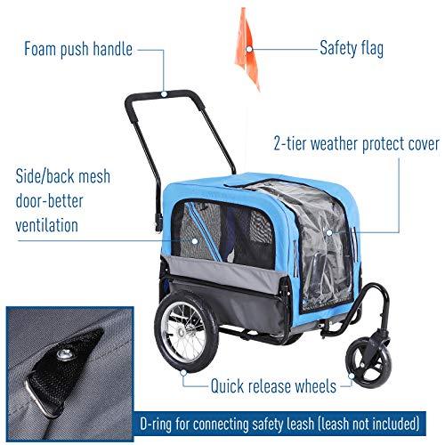 Aosom Elite-Jr 2-in-1 Dog Pet Bicycle Trailer/Jogging Stroller with 360-Degree Swivel Wheels & Large Easy Entry, Blue