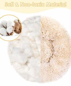 SlowTon Dog Bed, Ultra Soft Donut Cuddler Nest Warm Plush Dog Cat Cushion with Cozy Sponge Non-Slip Bottom for Small Medium Pets Snooze Calm Sleeping Indoor, Machine Washable (23.6″, Cookie)
