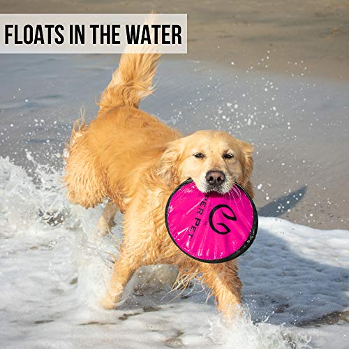 Hyper Pet Flippy Flopper Dog Frisbee Interactive Dog Toys [Flying Disc Dog Fetch Toy – Floats in Water & Safe on Teeth] (Colors Will Vary)