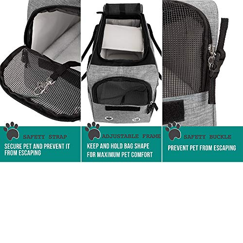 PetAmi Airline Approved Dog Purse Carrier | Soft-Sided Pet Carrier for Small Dog, Cat, Puppy, Kitten | Portable Stylish Pet Travel Handbag | Ventilated Breathable Mesh, Sherpa Bed (Heather Grey)