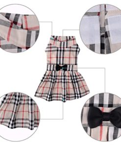 CHOLOGIFT Classic Plaid Dog Dress Cute Puppy Clothes Outfit Medium