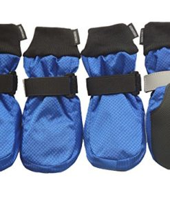 LONSUNEER Winter Paw Protector Dog Boots Waterproof Soft Sole and Nonslip Set of 4 Color Blue Size XL