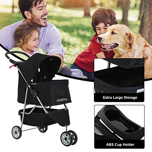 Dog Stroller Pet Stroller Cat Stroller for Medium Small Dogs Foldable Travel 3 Wheels Waterproof Puppy Stroller,Black