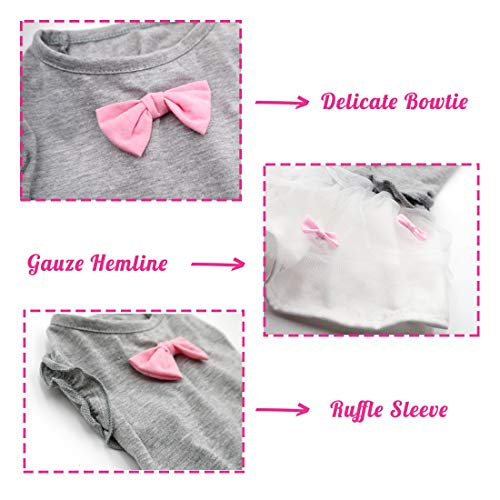 kyeese Dog Girl Dress Shirt Pink Bowtie Pet Apparel for Medium Dogs Spring Summer Fashion