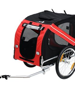 Aosom Bike Trailer Cargo Cart for Dogs and Pets with 3 Entrances Large Wheels for Off-Road & Mesh Screen – Red/Black