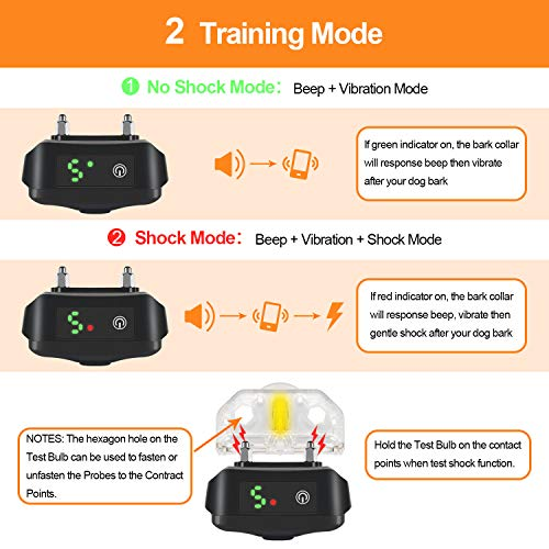 NinjaDog Anti Bark Collar 2020 Rechargeable & Waterproof Dog Bark Collar with Beep Vibration and Harmless Shock, 5 Sensitivity – Stop Barking Training Collars for Small Medium Large Dogs