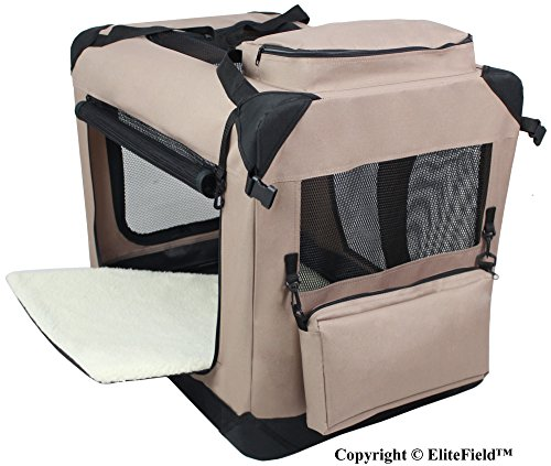 EliteField 3-Door Folding Soft Dog Crate, Indoor & Outdoor Pet Home, Multiple Sizes and Colors Available (30″ L x 21″ W x 24″ H, Khaki)