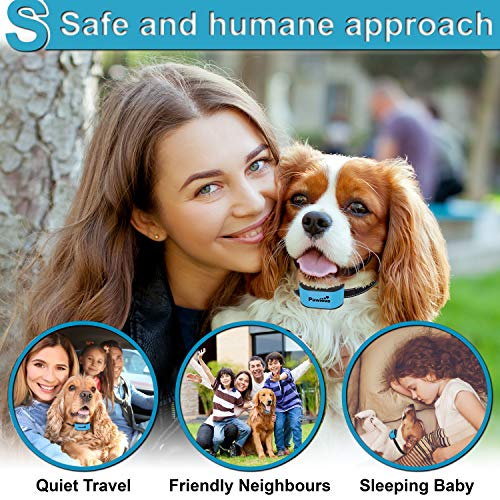 Pawious Bark Collar for Dogs – Humane No Shock, Rechargeable Anti Barking Collar, No Harmful Prongs, Sound and Vibration, 7 Sensitivity Levels – for Small and Medium Dogs
