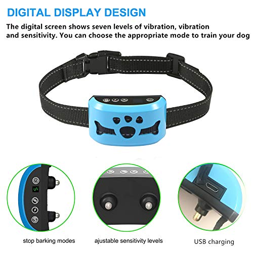 Dog Bark Collar – Stop Dogs Barking Fast! Safe Anti Barking Devices Training Control Collars, Small, Medium and Large Pets Deterrent