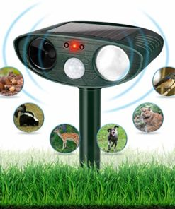 Dog Repellent Ultrasonic, Outdoor Solar Powered and Weatherproof Ultrasonic Pest Repeller with PIR Sensor