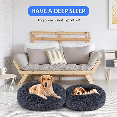 "FOCUSPET Dog Bed Donut, Faux Fur Cuddler Bed Size Medium 23"" for Cats & Dogs Round Ultra Soft Washable Self Warming Pet Cuddler Beds"