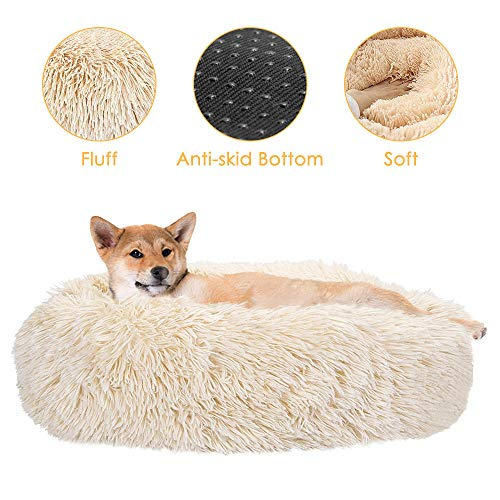 SlowTon Dog Bed, Ultra Soft Donut Cuddler Nest Warm Plush Dog Cat Cushion with Cozy Sponge Non-Slip Bottom for Small Medium Pets Snooze Calm Sleeping Indoor, Machine Washable (23.6″, Cookie)
