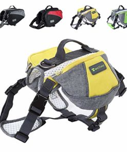 Wellver Dog Backpacks Saddle Bag Outdoor Dog Packs for Hiking Walking Camping,Medium