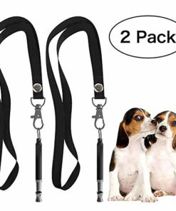 HEHUI Dog Whistle, Silent Dog Whistle to Stop Barking, Professional Ultrasonic Dog Training Whistle for Recall with Adjustable Frequencies-2 Pack Whistle with 2 Free Lanyard