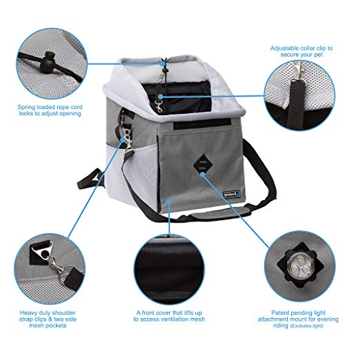 elabark 4 in 1 Dog Carrier/Dog Bike Basket with Large Side Pockets, Ride Safely at Night with Our Bike Light Attachment