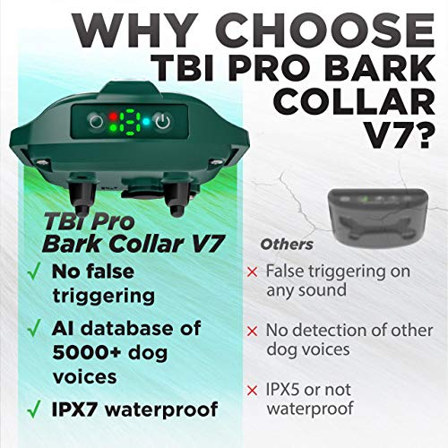 [Upgraded 2020] Bark Collar Professional Dual Vibration Motor – No-Shock Humane V7 for Small and Medium Dogs – Rechargeable Chipset – Anti-Barking Collar to Stop Barks Waterproof – Safe Pet Control