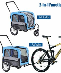 Aosom Elite-Jr 2-in-1 Dog Pet Bicycle Trailer/Jogging Stroller with 360-Degree Swivel Wheels & Large Easy Entry, Blue