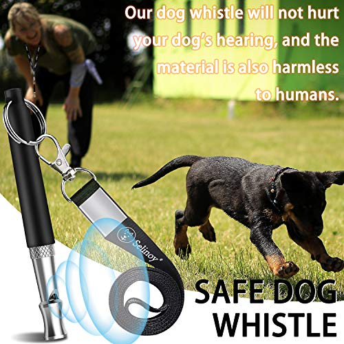 Selinoy Dog Training Whistle, Professional Dogs Whistles- Adjustable Pitch for Stop Barking Recall Training Tool, Include Free Black Strap Lanyard
