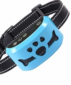 Dog No Bark Collar with Smart Detection Vibration and Harmless Shock- Rechargeable Anti Barking Device for Small Medium and Large Dog (Blue)