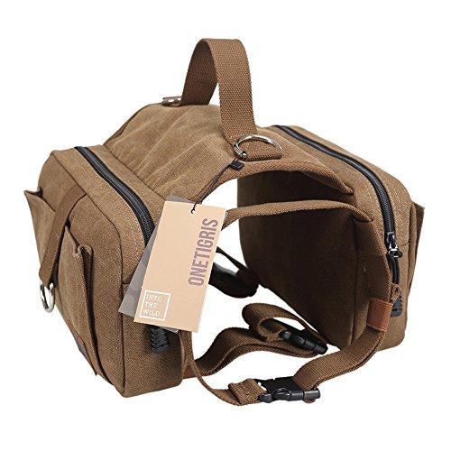 OneTigris Dog Pack Hound Travel Camping Hiking Backpack Saddle Bag Rucksack for Medium & Large Dog (Old Vesion, One Size:(Neck:16″-26″,Chest:30″-42″))