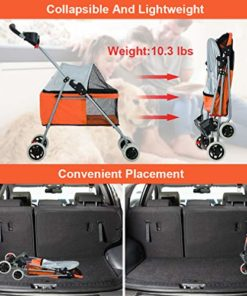 BestPet New Orange Posh Pet Stroller Dogs Cats w/Cup Holder