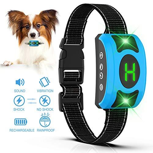 Valoinus Dog Bark Collar Adjustable Sensitivity and Intensity Levels-Dual Anti-Barking Modes-Rechargeable/Rainproof -No Barking Control Dog Shock Collar for Small Medium Large Dog