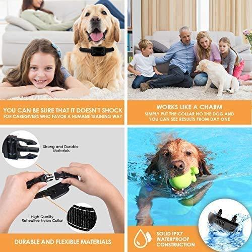 Zomma Bark Collar, 2019 Upgraded Barking Control Device, Adjustable Vibration, Shock Sensitivity Level, Rechargeable Waterproof, Barking Detection Small Large Dog, No Bark Collar
